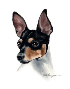 A Rat Terrier portrait print based on a David J Rogers original watercolor