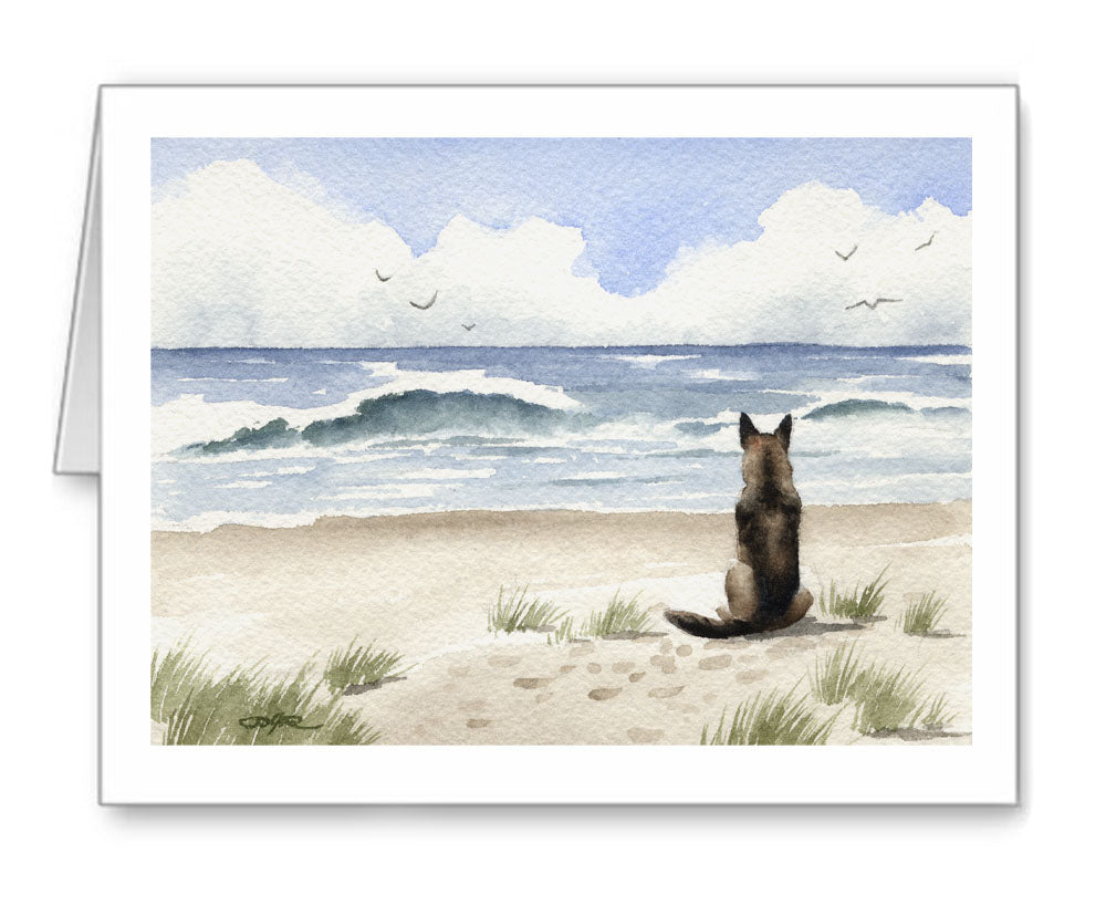 German Shepherd Watercolor Note Card Art by Artist DJ Rogers