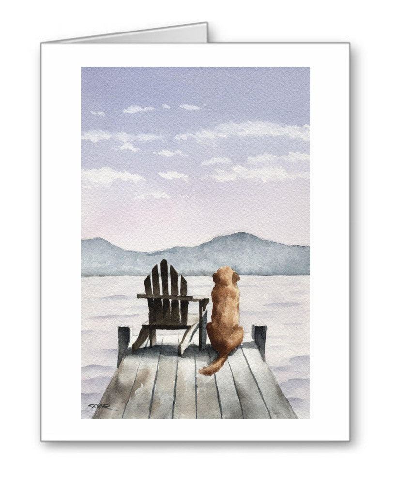Golden Retriever Watercolor Note Card Art by Artist DJ Rogers