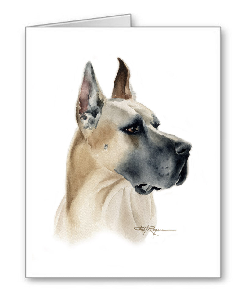 Great Dane Watercolor Note Card Art by Artist DJ Rogers