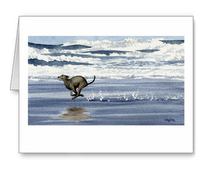 Greyhound Watercolor Note Card Art by Artist DJ Rogers