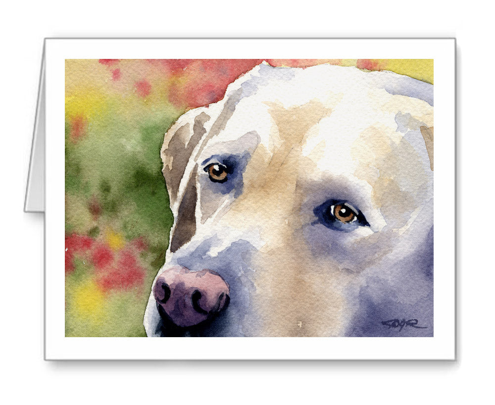 Labrador Retriever Watercolor Note Card Art by Artist DJ Rogers