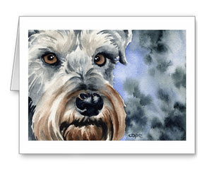 Miniature Schnauzer Watercolor Note Card Art by Artist DJ Rogers