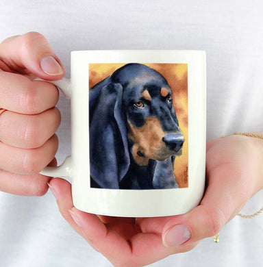 A Black Tan Coonhound portrait print based on a David J Rogers original watercolor