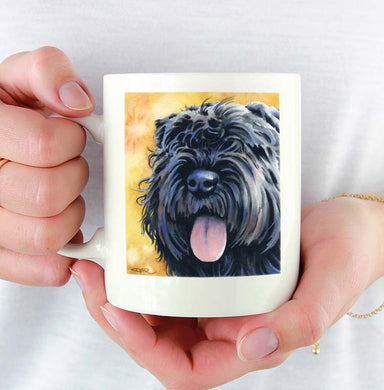 A Bouvier Des Flandres portrait print based on a David J Rogers original watercolor