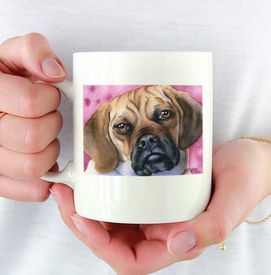 A Puggle portrait print based on a David J Rogers original watercolor