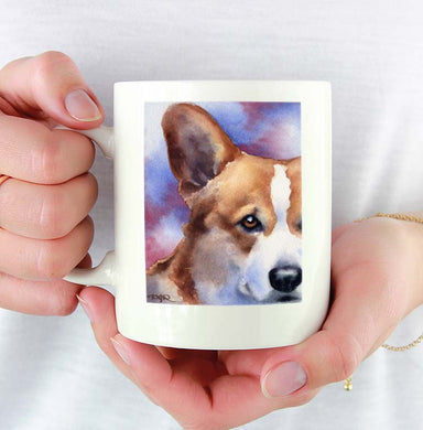 A Welsh Corgi portrait print based on a David J Rogers original watercolor