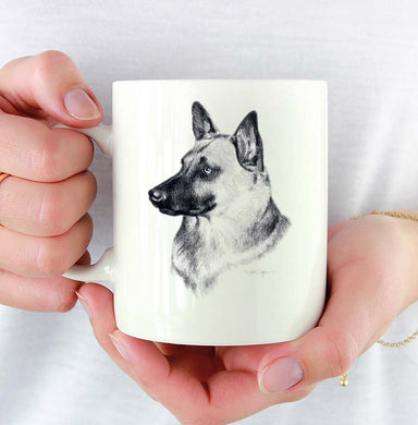 A Belgian Malinois portrait print based on a David J Rogers original watercolor