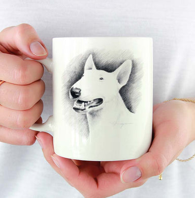 A Bull Terrier portrait print based on a David J Rogers original watercolor