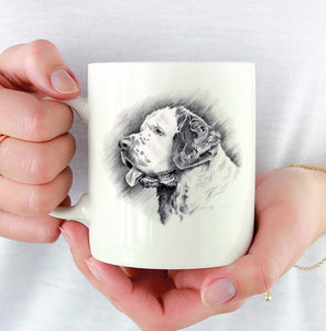 A Clumber Spaniel portrait print based on a David J Rogers original watercolor