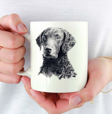 A Curly Coated Retriever portrait print based on a David J Rogers original watercolor