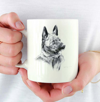 A Dutch Shepherd portrait print based on a David J Rogers original watercolor