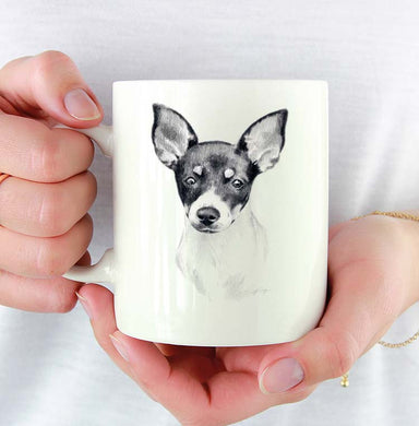 A Miniature Rat Terrier portrait print based on a David J Rogers original watercolor