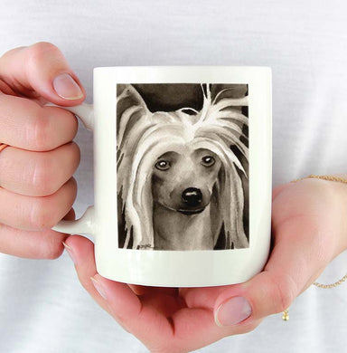 A Chinese Crested portrait print based on a David J Rogers original watercolor