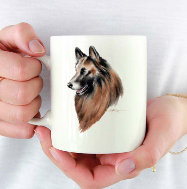 A Belgian Tervuren portrait print based on a David J Rogers original watercolor