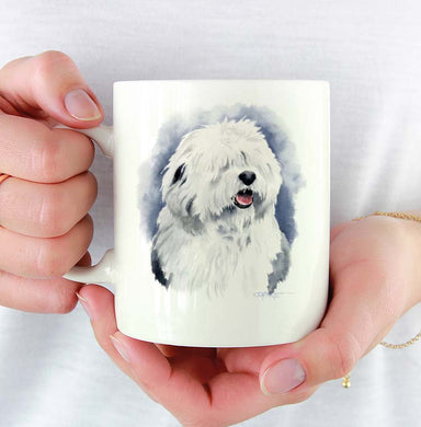 A Old English Sheepdog portrait print based on a David J Rogers original watercolor