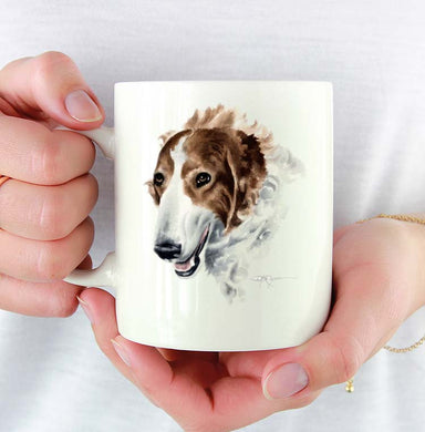 A Borzoi portrait print based on a David J Rogers original watercolor