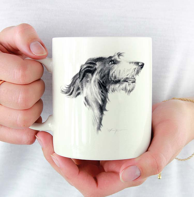 A Deerhound portrait print based on a David J Rogers original watercolor
