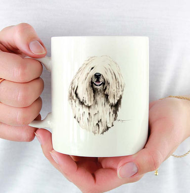 A Komondor portrait print based on a David J Rogers original watercolor