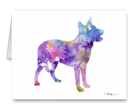 A Australian Cattle Dog 0 print based on a David J Rogers original watercolor