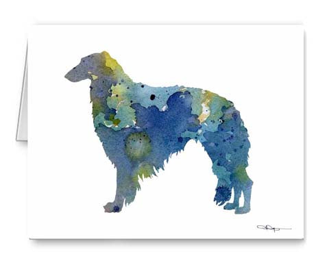 A Borzoi 0 print based on a David J Rogers original watercolor