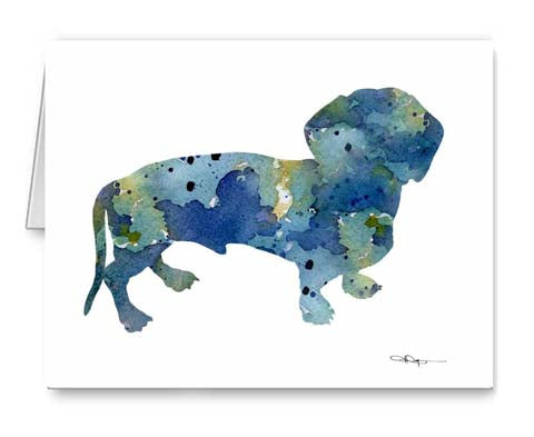 A Dachshund 0 print based on a David J Rogers original watercolor