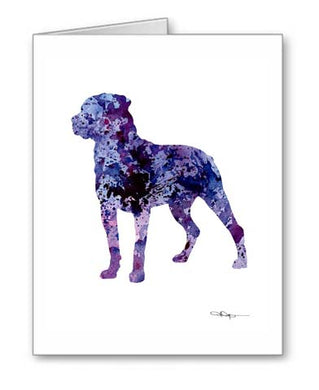 A Rottweiler 0 print based on a David J Rogers original watercolor