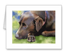 Load image into Gallery viewer, A Chocolate Lab portrait print based on a David J Rogers original watercolor
