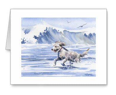 A Golden Doodle beach print based on a David J Rogers original watercolor