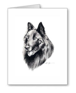 A Belgian Sheepdog portrait print based on a David J Rogers original watercolor