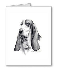 A Basset Hound portrait print based on a David J Rogers original watercolor