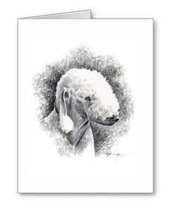 A Bedlington Terrier portrait print based on a David J Rogers original watercolor