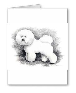 A Bichon Frise portrait print based on a David J Rogers original watercolor