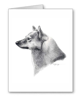 A Finnish Spitz portrait print based on a David J Rogers original watercolor