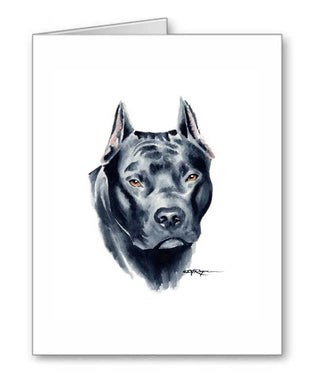 A American Pit Bull Terrier portrait print based on a David J Rogers original watercolor
