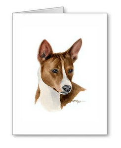 A Basenji portrait print based on a David J Rogers original watercolor