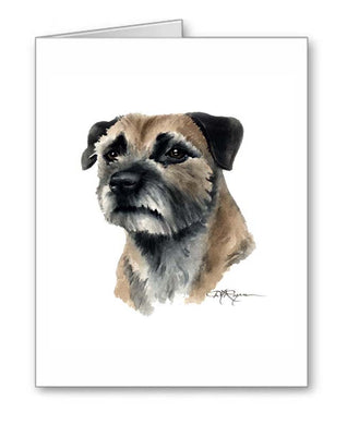 A Border Terrier portrait print based on a David J Rogers original watercolor