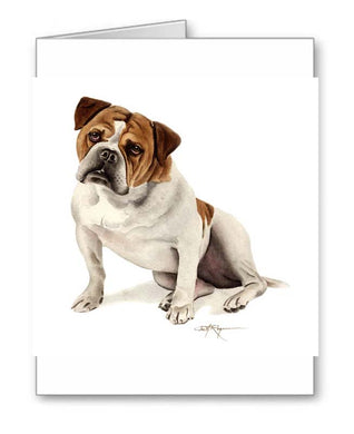A Old English Bulldog portrait print based on a David J Rogers original watercolor