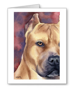 Pit Bull Watercolor Note Card Art by Artist DJ Rogers
