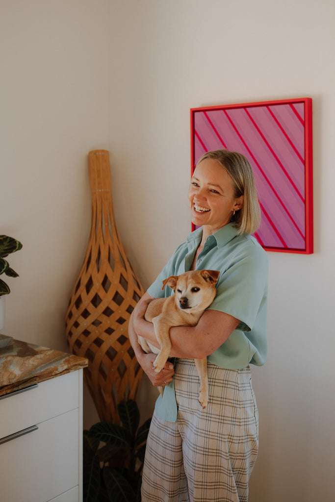 Stylist Tori Ambler wears the Day Shirt in Seafoam and Mali Pant in Gingham