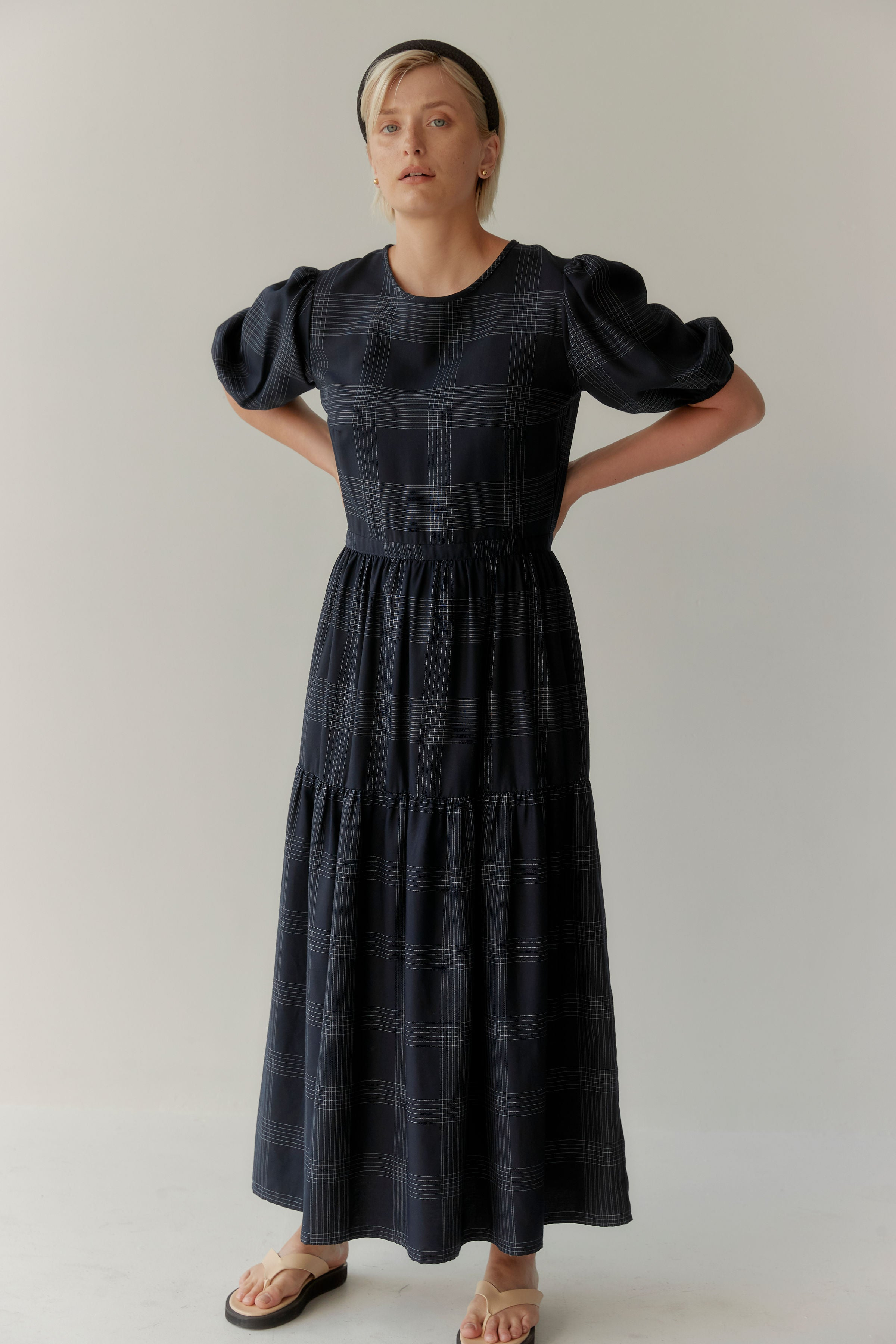 Balance Dress Navy Pinstripe
