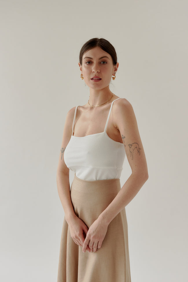Ribbed Singlet Off White