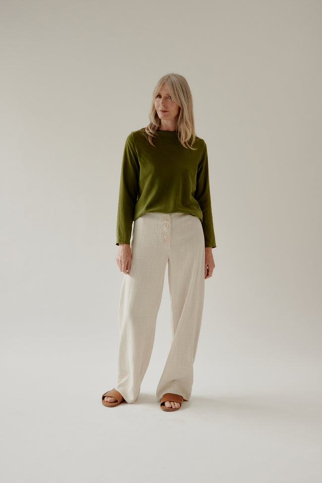 Mali Pant Natural Button Up
