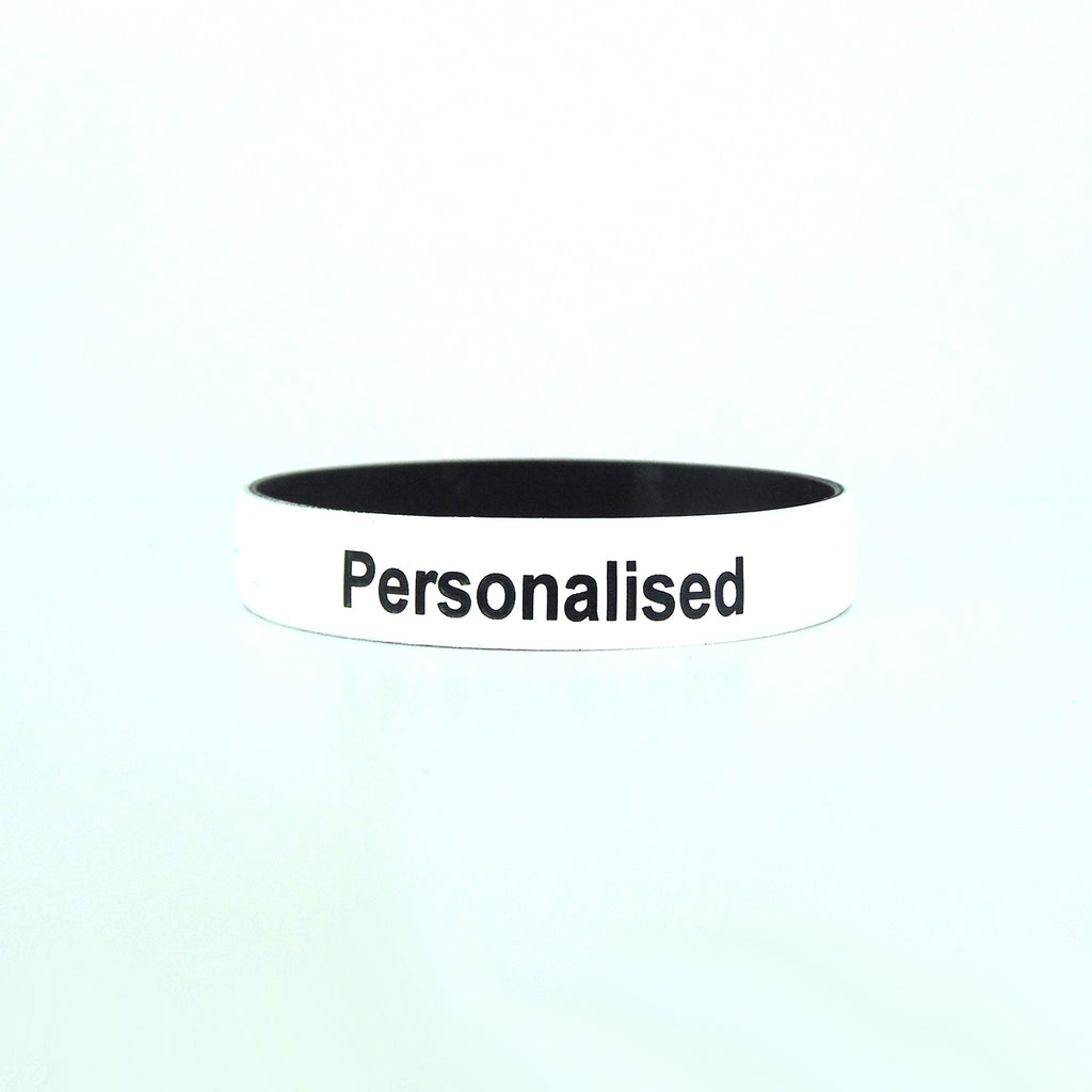 Debossed Two Colour Silicone Wristbands - Black Text