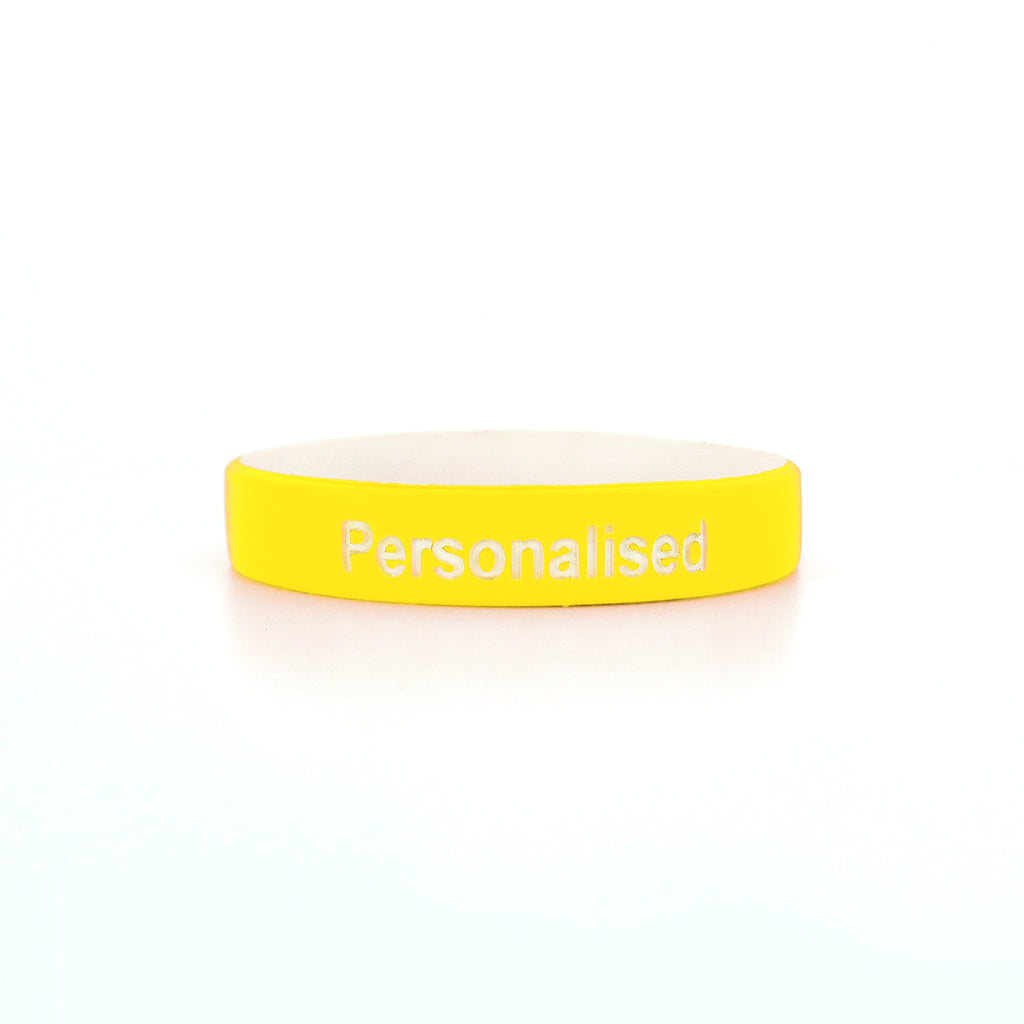 Debossed Two Colour Silicone Wristbands - White Text
