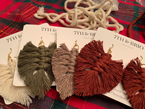 New Fall Macramé Feather Earrings - Minis
