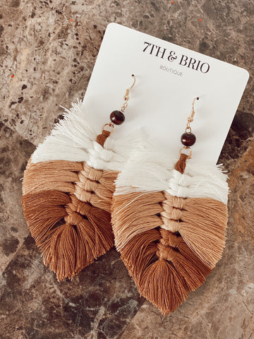 Ombre Macrame Feather Earrings