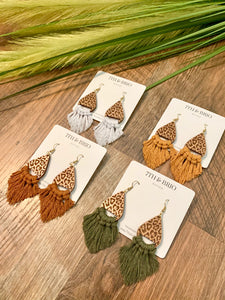 Cheetah/Leopard Print Teardrop Wooden Earrings
