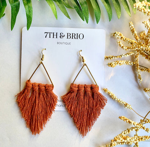 Macramé Triangle Earrings