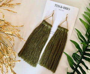 Long Macramé Tassel Earrings
